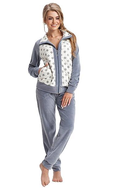 d30da517a605 LEVERIE Tuta da Ginnastica per Donna/Abbigliamento da casa/Tuta Sportiva  con Felpa di Tendenza e Pantaloni Comodi, Made in EU, Grigio, Taglia S:  Amazon.it: ...