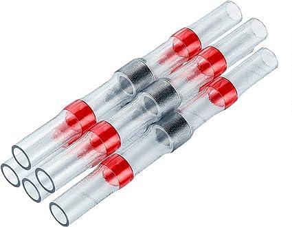 100Pcs Heat Shrink Solder Seal Wire Red Connectors Terminals 22-18Gauge AWG GA