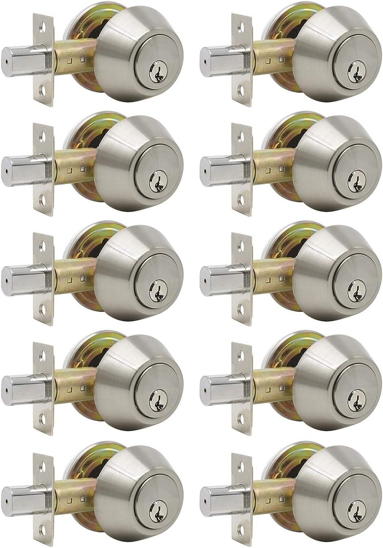 5 X Probrico Stainless Steel Deadbolt Security Door Lock with Key Single Safe Lock Door Handles Knobs Entrance Locker Satin Nickel DLD101SNDB
