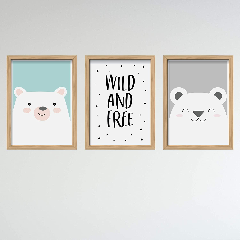 DINA 4 D/écoration de chambre de b/éb/é Lot de 3 posters pour chambre denfant