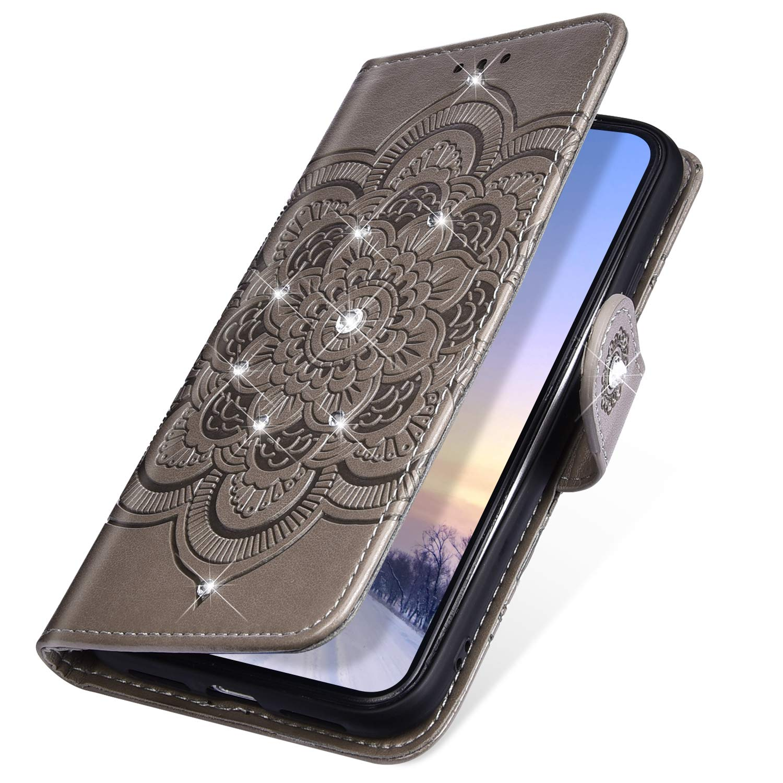 Rann.Bao Custodia Compatibile per Xiaomi Mi 6X//Mi A2 Cover Brillante in Pelle Fiore Mandala Disegni Flip Cuoio Portafoglio con Funzione di Slot per Schede e Supporto Stand Magnetica Wallet,Oro Rosa