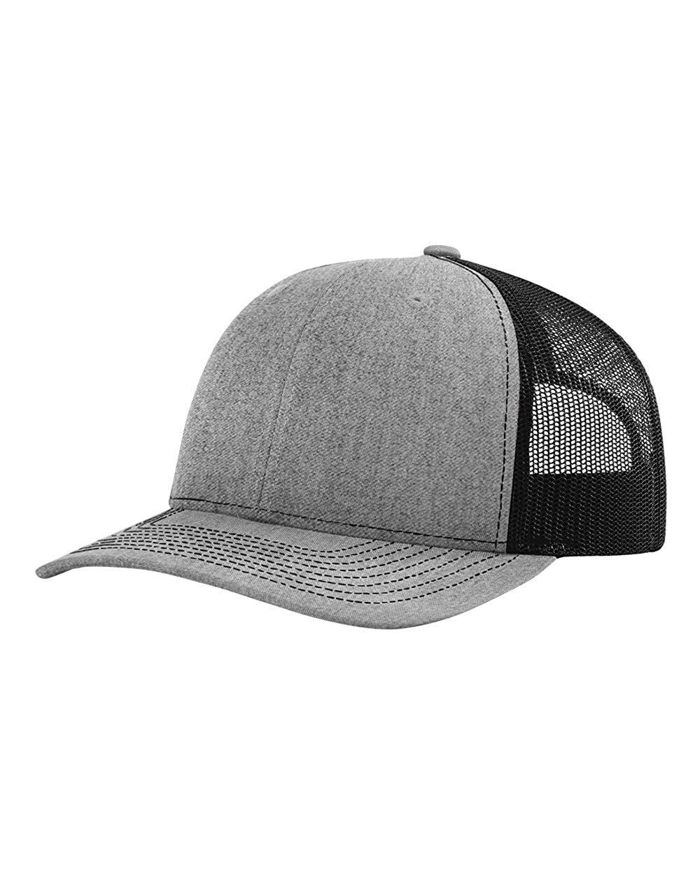 Richardson Trucker Snapback Cap,Heather Grey/Black,Adjustable