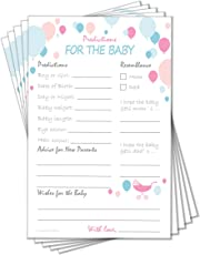 Baby Shower Game Prediction Advice Fun Colour and Cute Print Design Perfect for Party Guests Card Matte Finish Easy to Write Thick Cardstock Paper (Value Pack of 50)
