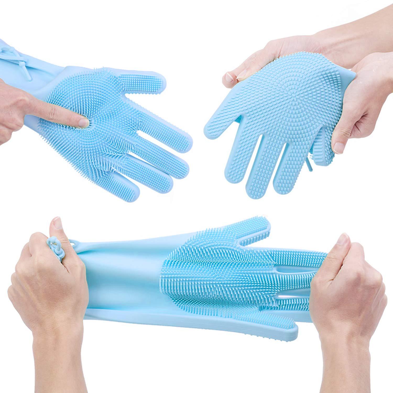 Magiques de Nettoyage R/éutilisable avec Sangle Antid/érapante pour Le Lavage,de la Vaisselle,Le Nettoyage,la Cuisine,Le M/énage,etc PalmTalkHome Gants Silicone avec Brosse de Nettoyag CG-Blue