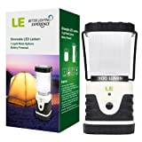 LE Outdoor LED Lantern, 300lm, 3 Modes, Battery Powered, Water Resistant, Home Garden Lights for Hiking, Emergencies,Hurricanes,Outages
