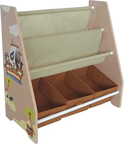 Bebe Style Toddler Sized Premium Wooden Book Shelf Pirate Theme Easy Assembly Brown