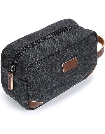 IGNPION Canvas Travel Toiletry Bags for Men Shaving Kit Bags Dopp Kit Cosmetic  Makeup Bags Black 4c3e8d5623c30