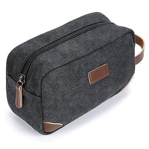 IGNPION Travel Cosmetic Wash Bag Unisex Toiletry Bag Vintage PU Canvas  Compact Travel Make up Shaving Dopp Kit with Handle (Black)  Amazon.co.uk   Luggage 4c38f3fce03b2