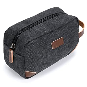 IGNPION Travel Cosmetic Wash Bag Unisex Toiletry Bag Vintage PU Canvas  Compact Travel Make up Shaving 38ac7c7ae6