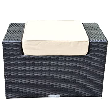 Black All Weather Outdoor Rattan Garden Footstool