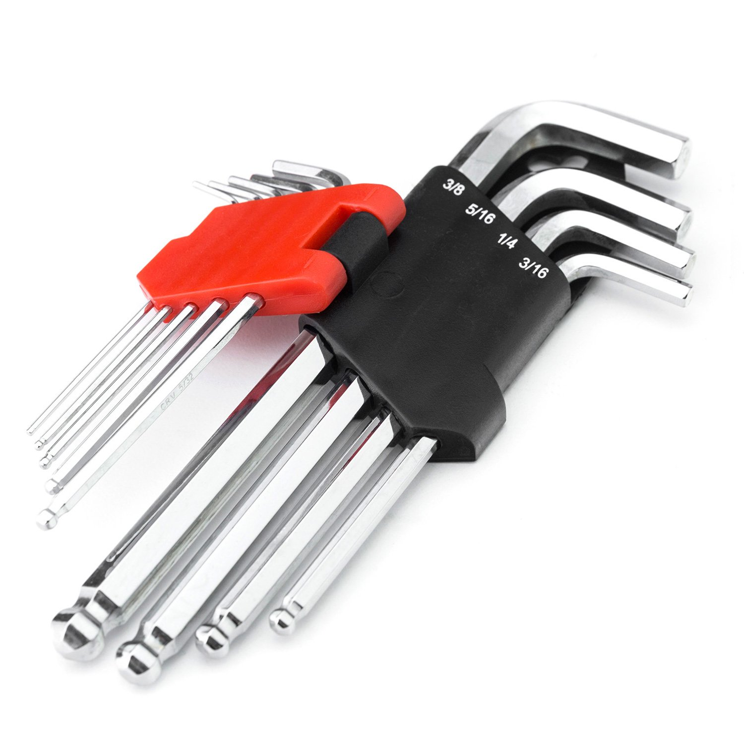 MAXPOWER 9-Piece SAE Ball Hex Key Set Pro Grade Large Allen Wrenches in Inches