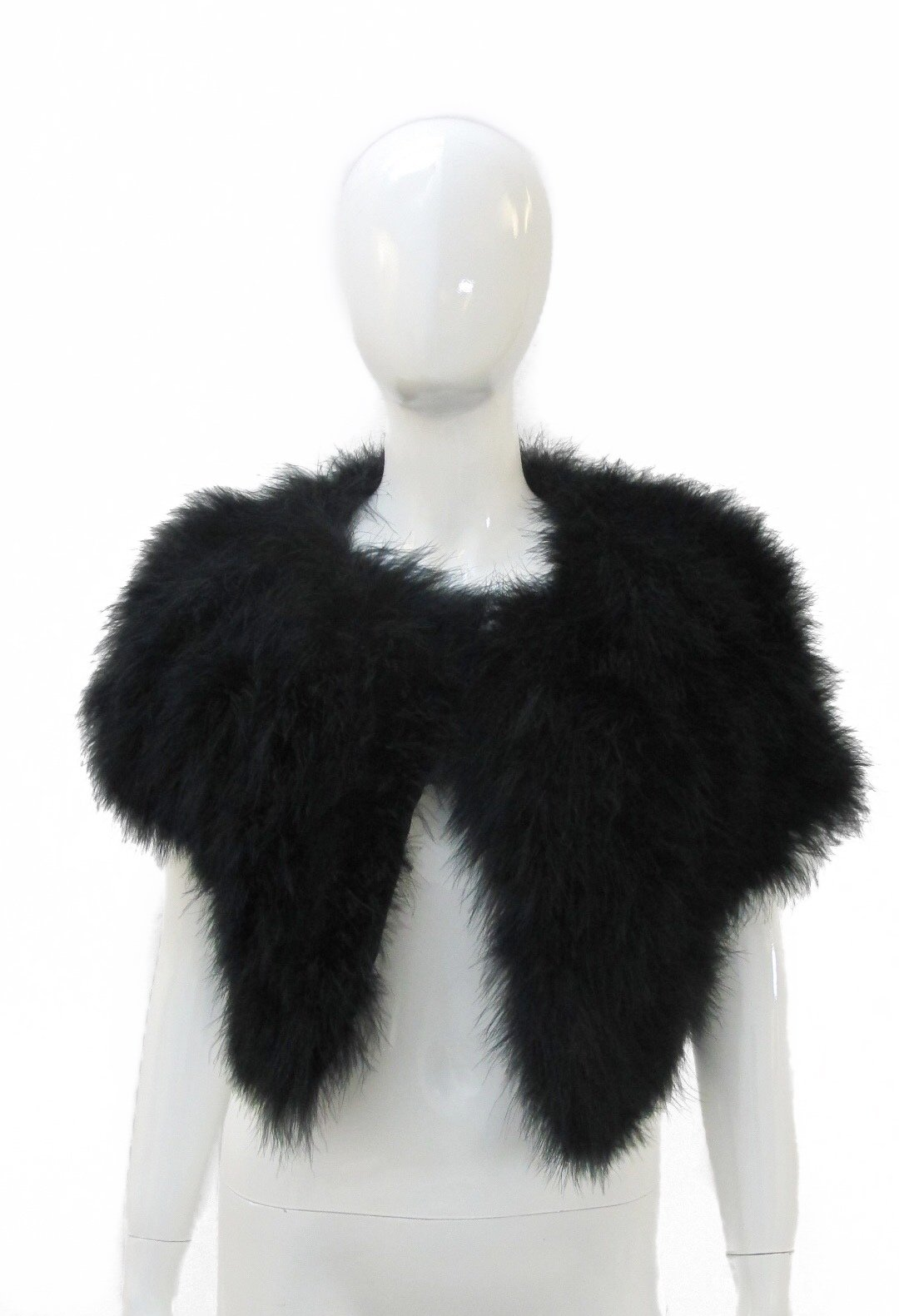 ANNABELLE NEW YORK Marabou Feather Cropped Jacket (Large, Black) by Annabelle New York