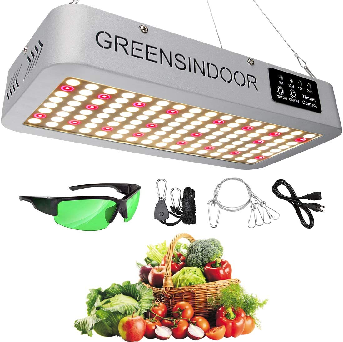 GREENSINDOOR 1500W Led Grow Light,Grow Lights for Indoor Plants,Upgrade Sunlight 3500K Plant Lamp for Indoor Plants Full Spectrum White and Red 660nm with Timer and Daisy Chain Function