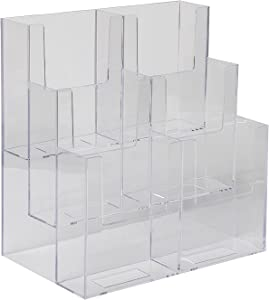 Dazzling Displays Acrylic Stand 3 Tier, 6 Pocket Fits 4 by 9 Material, Trifold Brochure Holder, Countertop Clear Display, Organizer Tray, Rack for Pamphlet, Letters, Folders, Document, Sign, Cards