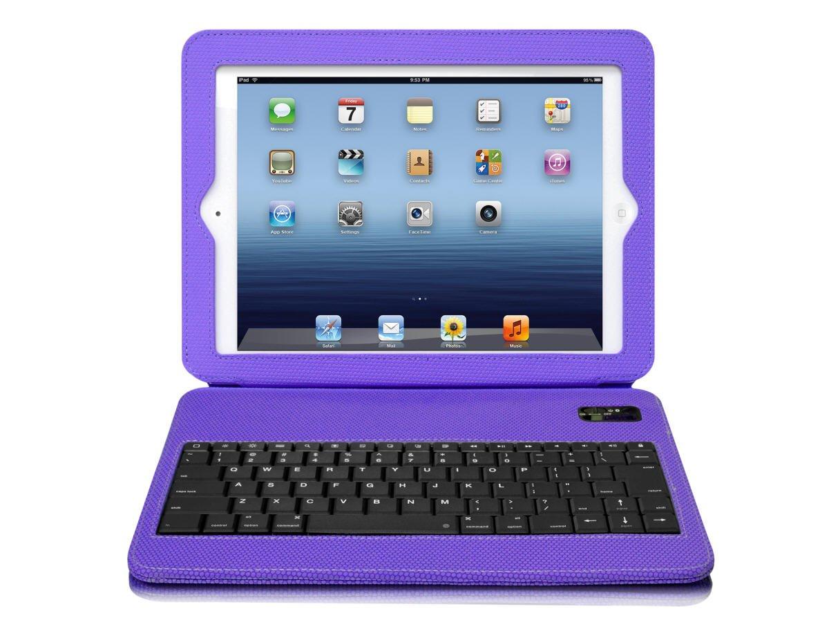 Aluratek Slim Color Folio Case with Bluetooth Keyboard for iPad 2/3 - Grape Jelly (ABTK02FV)