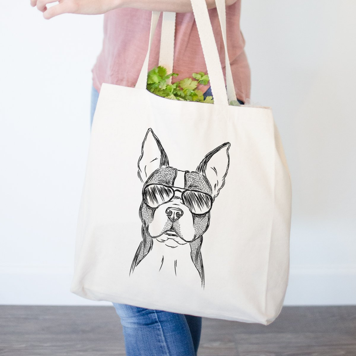 Scout TheボストンテリアHeavy Duty 100 %コットンキャンバストートバッグショッピングReusable Grocery Bag 14.75インチx 14.75 X 5 Printed 1 Side ベージュ TOTE-Scout-BostonTerrier-1-side B0793GXQMC  Printed 1 Side