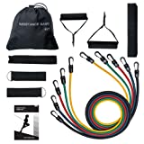 [Total 100 LBS]Exercise Resistance Bands Set, TopElek Fitness Resistance Bands Set with 5 Fitness Tubes/Handles/Door Anchor/Ankle Straps/Carrying Pouch/Workout Guides and Protective Cover