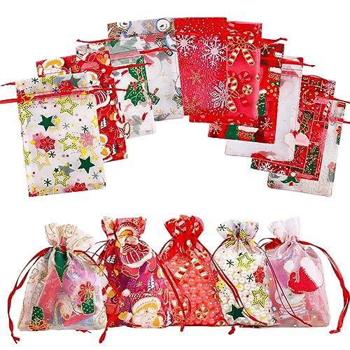 Gudotra 50 pcs Bolsas de Organza de Navidad Bolisita para ...