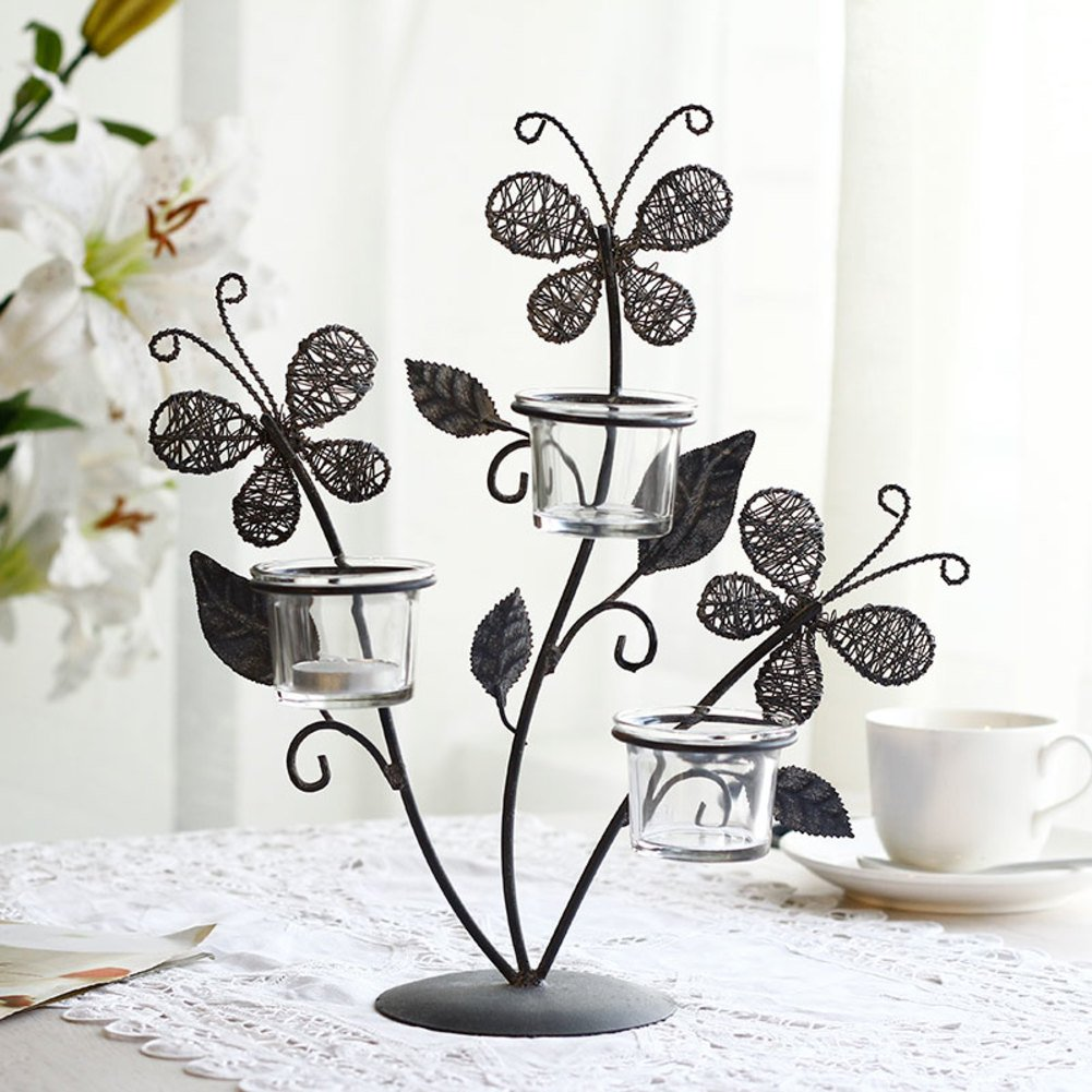 European Creative Wrought Iron Candle Holder Butterfly Home Decor Table Ornaments Candle-lit Romantic Dinner Candle- Three