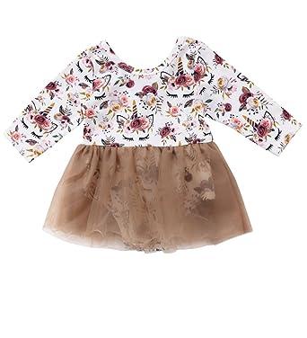 3963e73fbc04 Newborn Baby Girls Unicorn Floral Romper Tutu Dress Outfit Clothing (Light  Brown