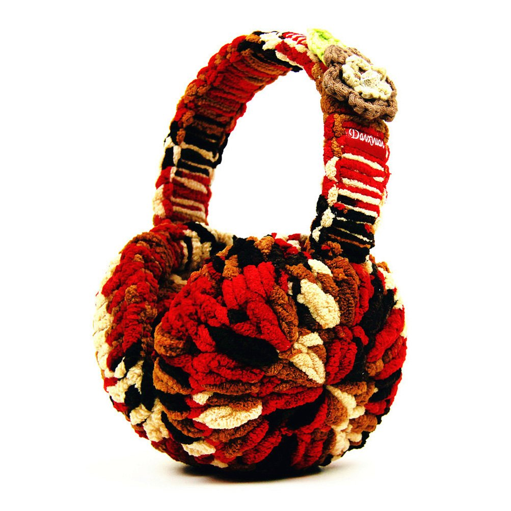 Rain's Pan Women Colorful Cute Winter Foldable Plush Knitted Bowknot Big Earmuffs Earcap