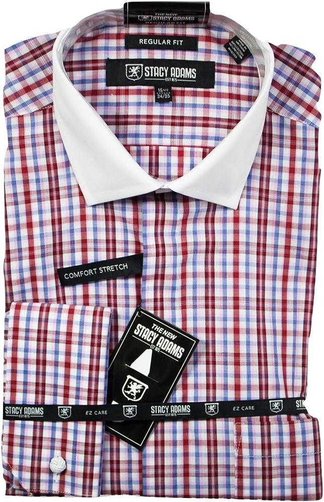 Stacy Adams Camisa de vestir hombre Regular Fit pun Set (Plaza de bolsillo y gemelos incluidos) (16,5 34-35, rojo): Amazon.es: Ropa y accesorios