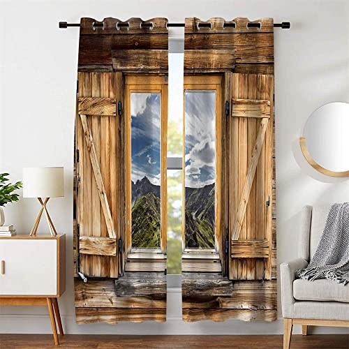106 W x 96 L Room Decor Window Curtains Wooden Doors Mountain Blue Sky White Cloud Blackout For Living Room Bedroom Drapes 2 Panels Set with Grommets Block Out Light Cold 53 x 96 inches Long Each