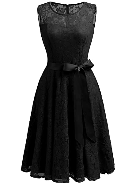 Dressystar Vestido Fiesta Corto Encaje Estampado Flor Elegante Mujer Sin Manga Vestido para Madrina Negro XS
