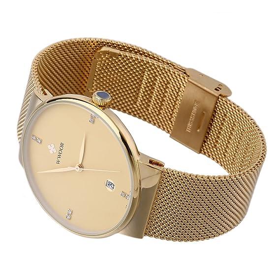 WWOOR 8018 - Relojes de cuarzo para hombre, ultra finos, con fecha: Amazon.es: Relojes