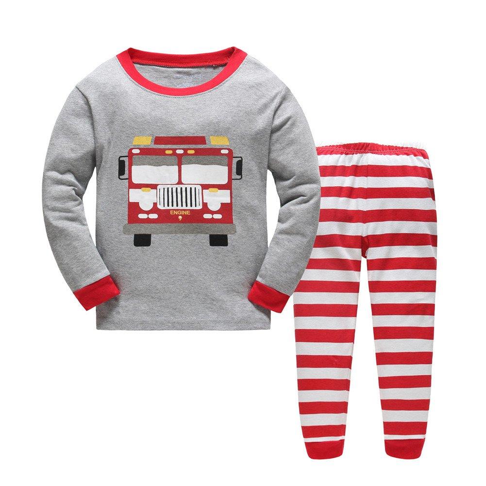 kidsmall Truck Boys Pajamas Baby Long Sleeve Sleepwear Size 2T-7T