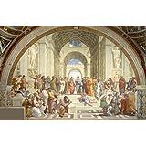 絵画風 壁紙ポスター(はがせるシール式) ラファエロ・サンティ アテナイの学堂 1509-1510年 バチカン宮殿 署名の間 キャラクロ K-RFE-001S2 (603mm×393mm) 建築用壁紙+耐候性塗料