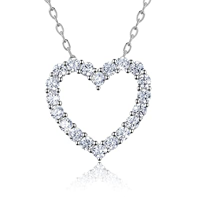"7c7985f8559e9 Sterling Silver Diamond Heart Necklace - Billie Bijoux Platinum Plated ""You  Are My Diamond"""