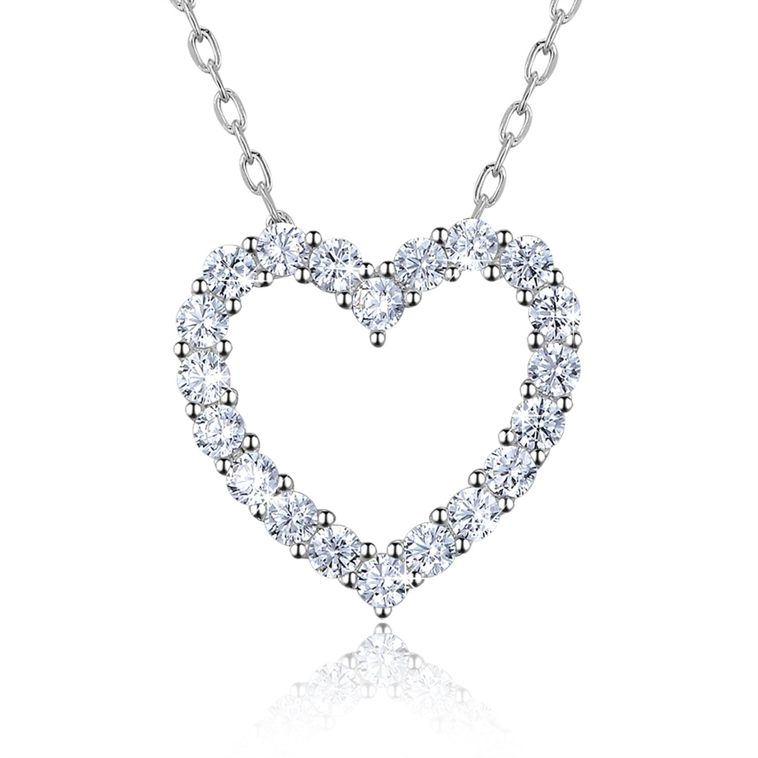 """Sterling Silver Diamond Heart Necklace - Billie Bijoux Platinum Plated """"You Are My Diamond"""" Love Symbol Mini Open Heart Pendant Necklace for Women, Mom"""