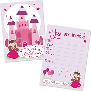 Kids Princess Castle Girls Birthday Party Invitations 20 Count With Envelopes
