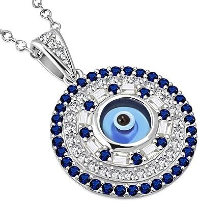 Sterling Silver Cz  /'Hamsa/' with Blue Sapphire Evil Eye Pendant Necklace
