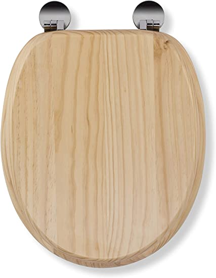 Blonded Pine Effect Wood 43 x 36.5 x 6 cm Croydex Flexi-Fix Davos Always Fits Never Slips Anti Bacterial Toilet Seat