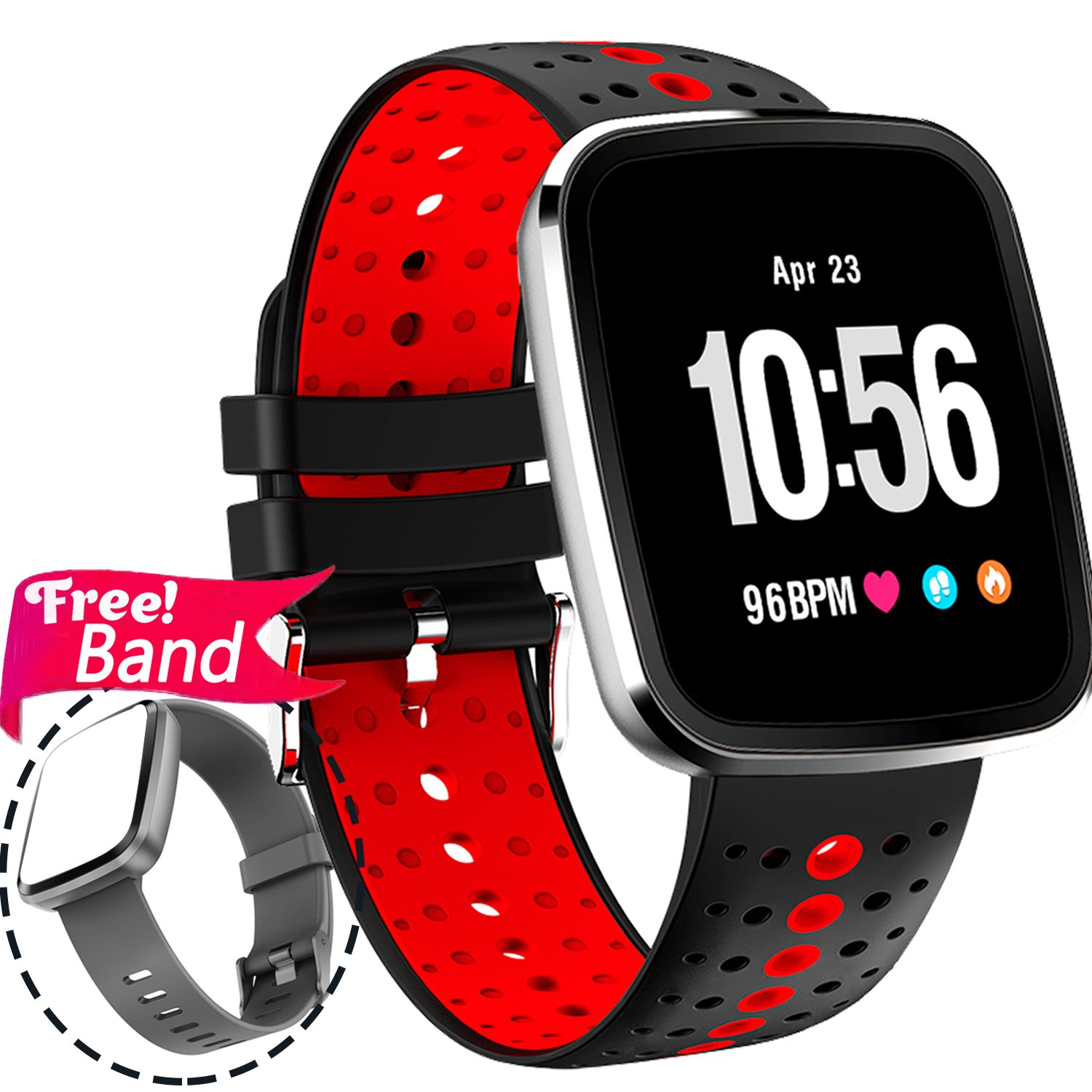1.3'' Sport Fitness Tracker Smart Watch Heart Rate Monitor Blood Pressure for Women Men IP67 Waterproof Removable Smart Band Pedometer Activity Tracker Watch Health Monitor Summer Swim Run IOS Android