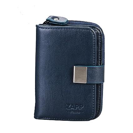 ZAPP - Estuche llavero multifunción marca ZAPP cuero genuino 6 ganchos para llaves (Color azul) y con 6 bolsillos cartera interna y la tarjeta de ...