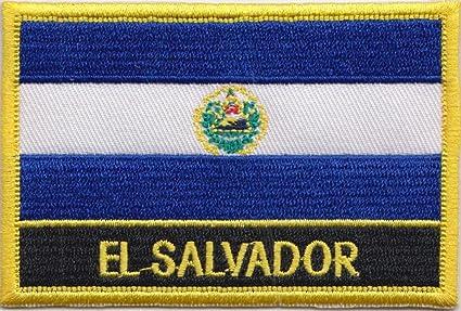 La bandera de El Salvador Rectangular parche bordado insignia/Sew encendido o hierro a presión