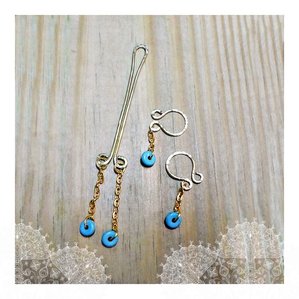 Fake Nipple Rings Clit Clamp Solid Gold Brass Turquoise ...