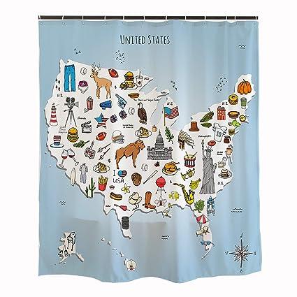 Orange Design USA Map Shower Curtain For Kids Bathroom 71x71