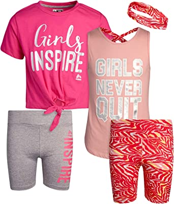 Leggings and Sports Training Bralette Set 4 Piece Athletic Performance T-Shirt RBX Girls Workout Set