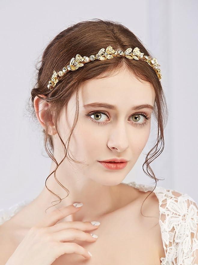 doro Lurrose Tiara Nuziale di Cristallo Diadea Copricapo Corona Fronte per Matrimonio