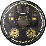 5-3/4 5.75 Inch Round Daymaker 45w Halo LED Headlight for Harley Davidson XL1200C XL883C FXDWG FXD FXDL FXDC FXDB FXD35 FXDSE FXDF FXR2 FXR3 FXR4 FXSTC FXST FXSTB FXSTC FXSTD XL Dyna FX Softail VRSCB