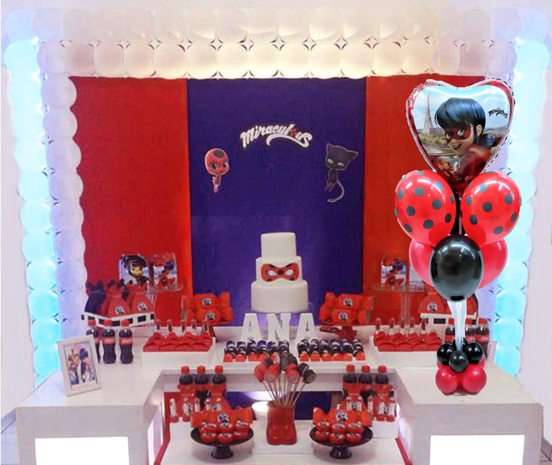 FIESTADEKOR Centro de Mesa Lady Bug formado por Globos de látex y Poliamida Especial para Fiestas de cumpleaños.Tamaño 120 cm