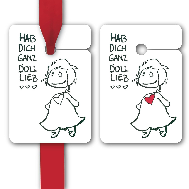 Geschenk Anhänger | Papieranhänger | Geschenk Karten (80Stk) für Freunde und Familie auch zum Geburtstag: Hab dich ganz doll lieb