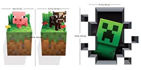 JINX Minecraft Vinilo Adhesivo Decorativo para Pared, diseño de Criaturas 3 Unidades