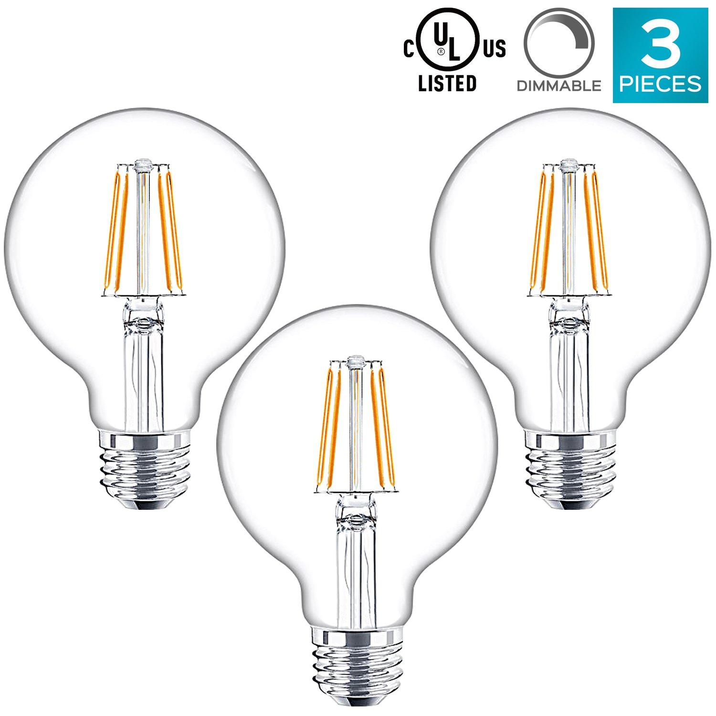ラクサライトg25 LEDグローブライト電球、40 W相当、2700 Kウォームホワイト、350ルーメン、調光機能付き、ヴィンテージエジソン電球、e26ベース – Perfect forペンダントライト、化粧台ミラー、またはホーム装飾照明(3パック) B07D9TXQN4