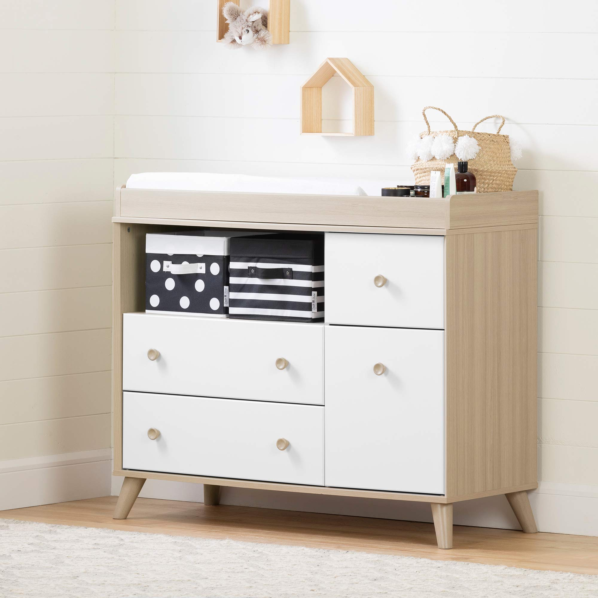 South Shore Yodi Changing Table with Drawers-Soft Elm and Pure White by South Shore