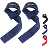 SKDK Strong Cotton Power Lifting Straps Wrist Grips-Deadlift Straps with Neoprene Wrist Padded and Anti-Skid Silicone…